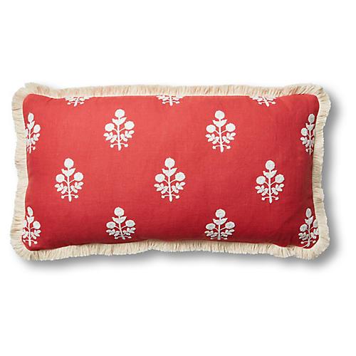 Nomi 12x23 Lumbar Pillow, Coral/White Linen