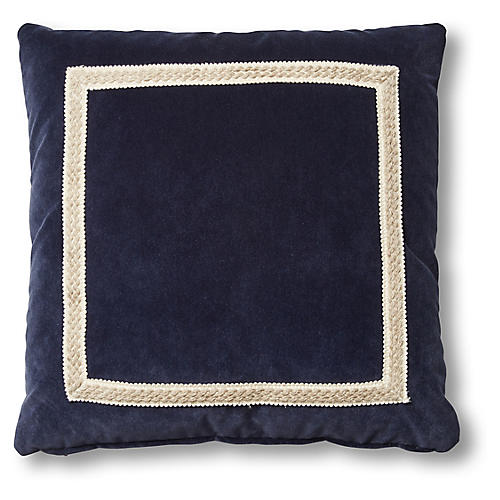 Mallory 19x19 Pillow, Navy Velvet