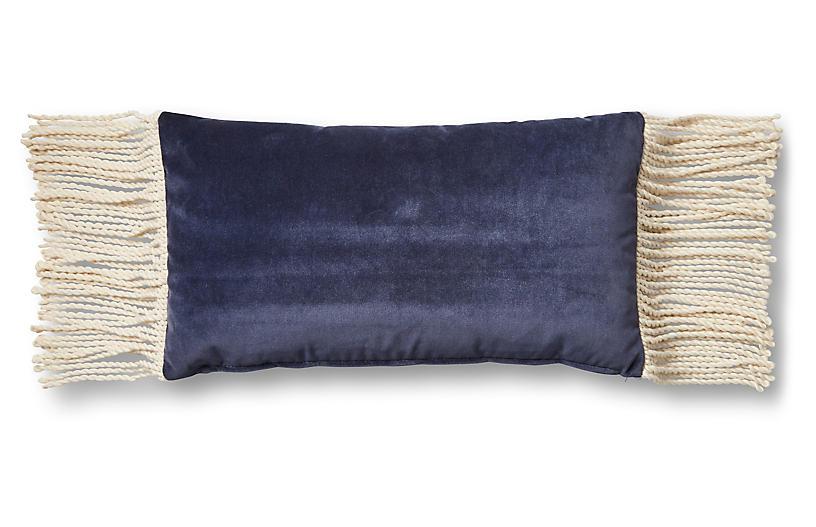 Tessa 12x23 Lumbar Pillow, Navy Velvet
