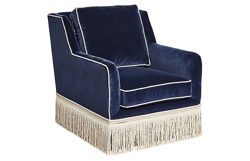 Portsmouth Swivel Chair, Navy Velvet