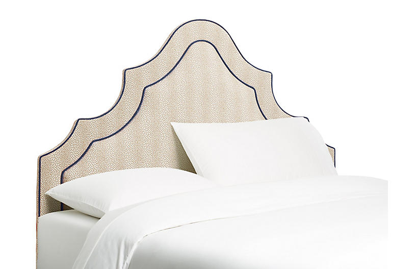 Dorset Arched Headboard, Beige/Navy
