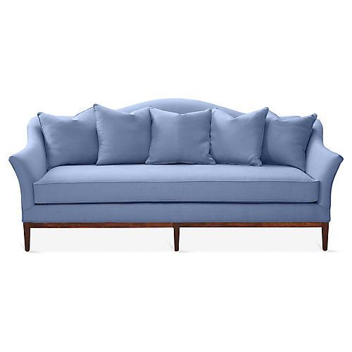 Eloise Camelback Sofa, Chambray Linen
