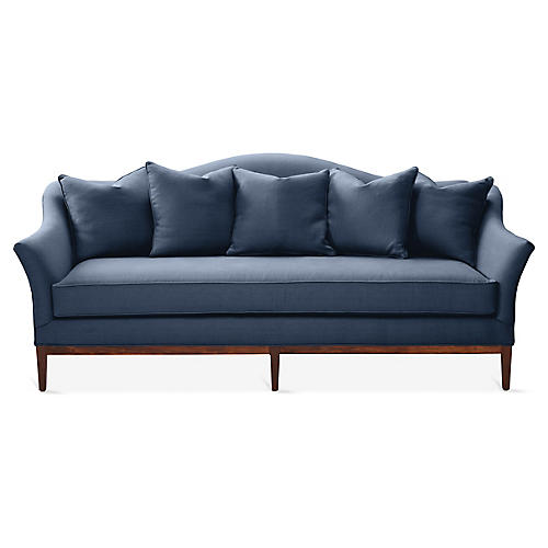 Eloise Camelback Sofa, Navy Linen