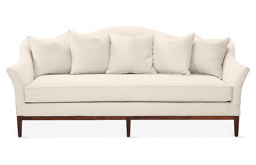 Eloise Camelback Sofa, Dune Linen