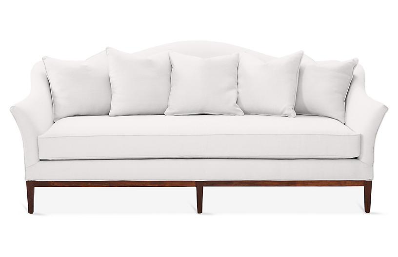 Eloise Camelback Sofa, White Linen