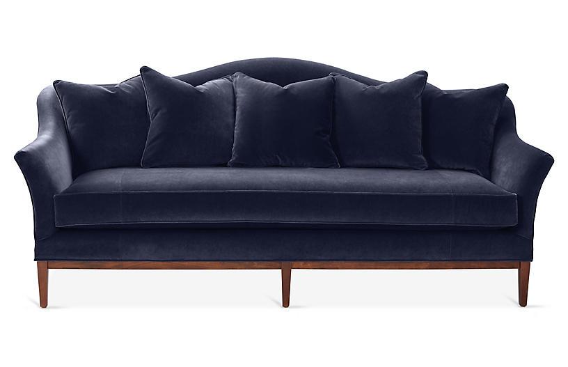 Eloise Camelback Sofa, Navy Velvet