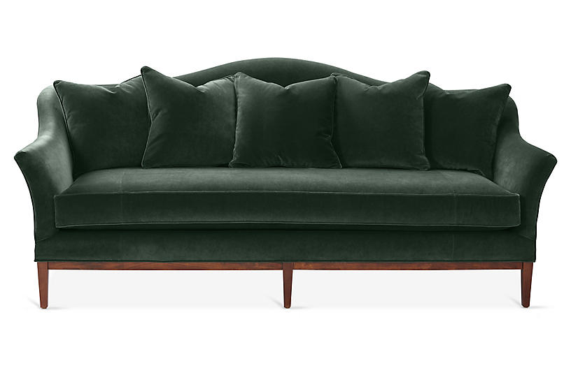 Eloise Camelback Sofa, Forest Velvet