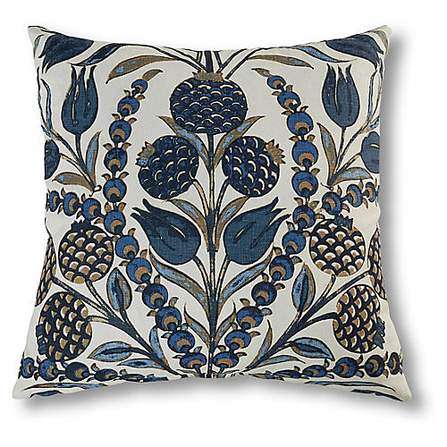 Aubrey 22x22 Pillow, Navy/Multi Linen