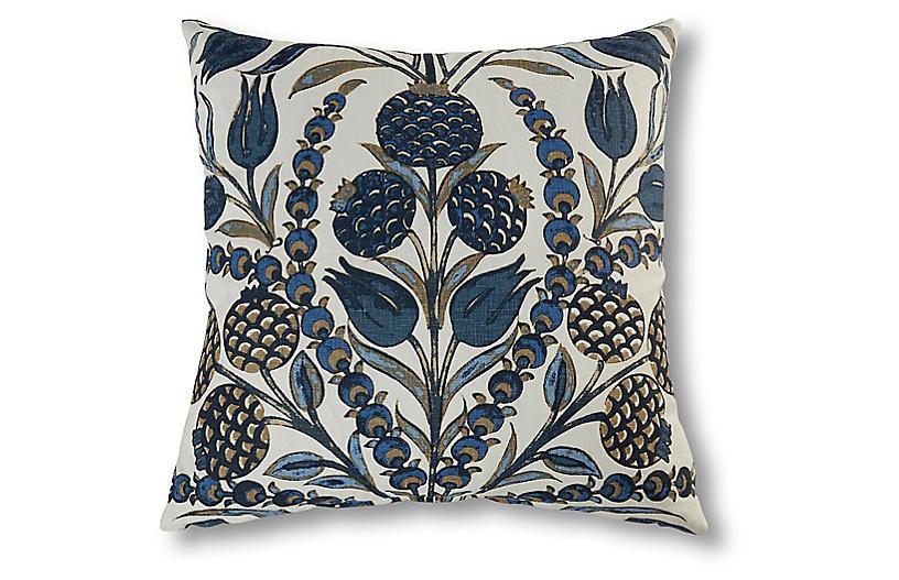 Aubrey 22x22 Pillow, Navy/Multi Linen