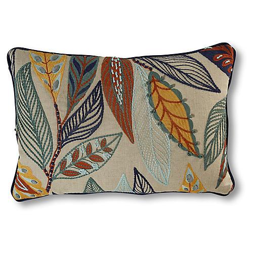 Anabelle Lumbar Pillow, Natural/Leaves Linen