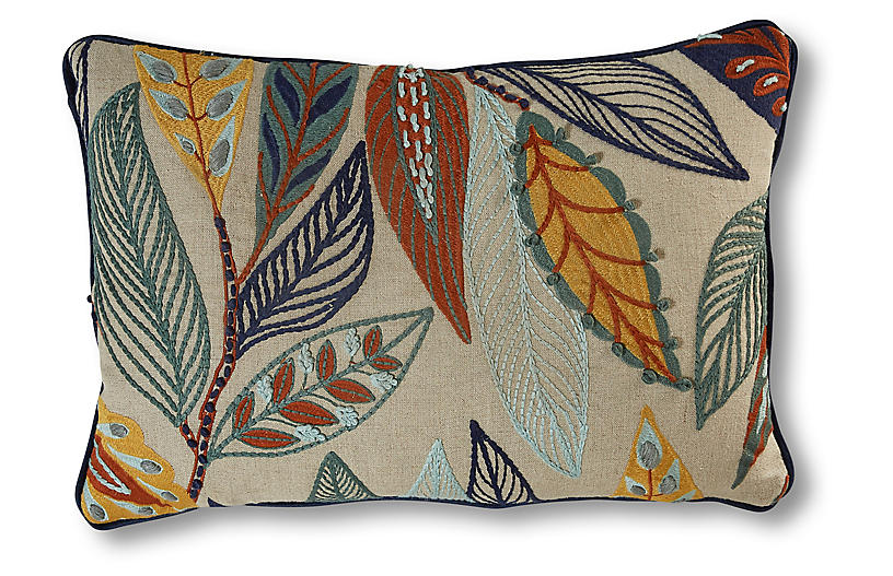 Anabelle Lumbar Pillow, Natural/Leaves Linen