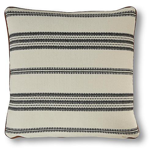 Kenzie 19x19 Striped Pillow, Gray/Cream