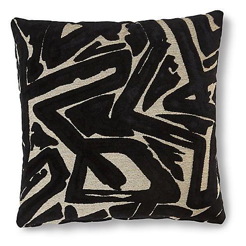 Addison 19x19 Pillow, Onyx/Cream