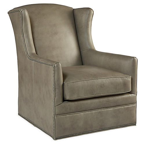 Folsom Swivel Wingback Chair, Stone Leather