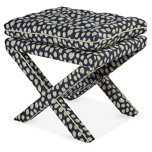 Dalton Pillow-Top Ottoman, Indigo Spots