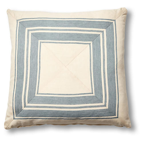 Brentwood 19x19 Mitered Pillow, China Blue