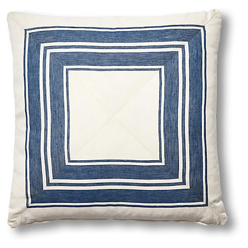 Brentwood 19x19 Mitered Pillow, Cobalt