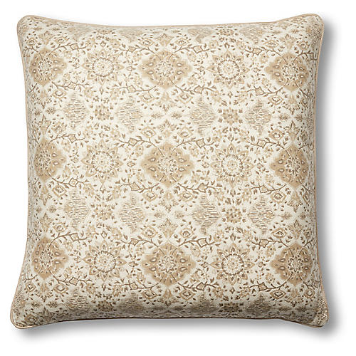 Monte 22x22 Pillow, Natural/Khaki Linen