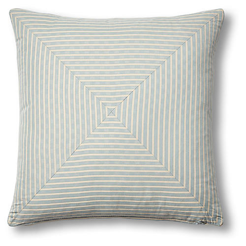 Beverly 19x19 Mitered Pillow, China Blue