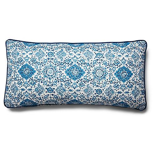 Montecito 14x28 Lumbar Pillow, Indigo Linen