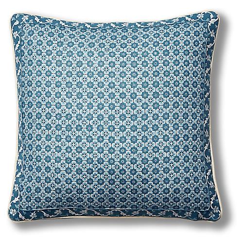 Palisades 19x19 Pillow, Indigo Paisley Linen