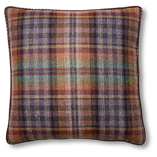 Mills 19x19 Pillow, Purple Plaid/Chocolate