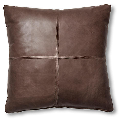 Samantha 19x19 Pillow, Chocolate Leather