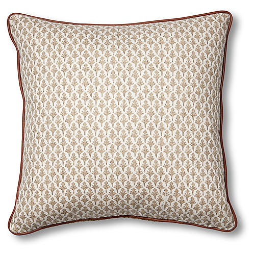 Lila 19x19 Pillow, Beige/White
