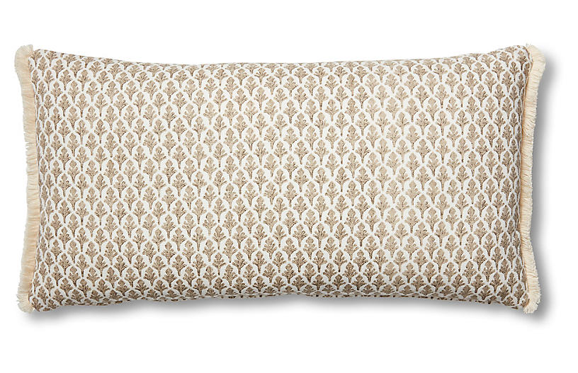 Lila 12x23 Lumbar Pillow, Beige/White