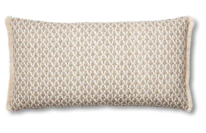 Lila 12x23 Lumbar Pillow, Beige/White