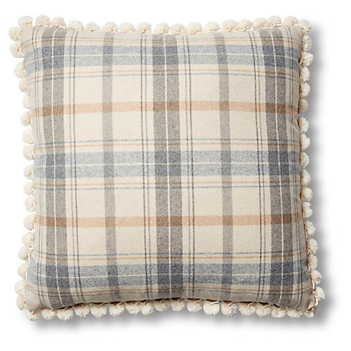 Wyatt 19x19 Pillow, Sky Blue Plaid