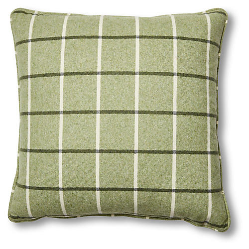 Serina 19x19 Pillow, Green Plaid