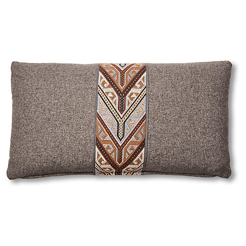 Poppy 12x23 Lumbar Pillow, Graphite/Chocolate