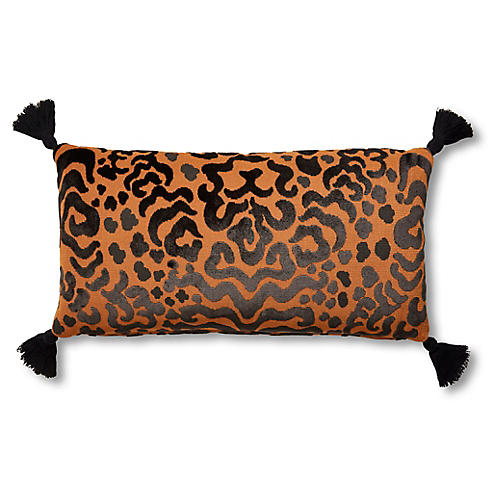 Tibi 12x23 Lumbar Pillow, Black/Gold