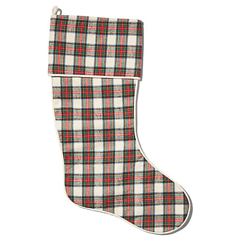 Charles Tartan Stocking, Ivory/Multi