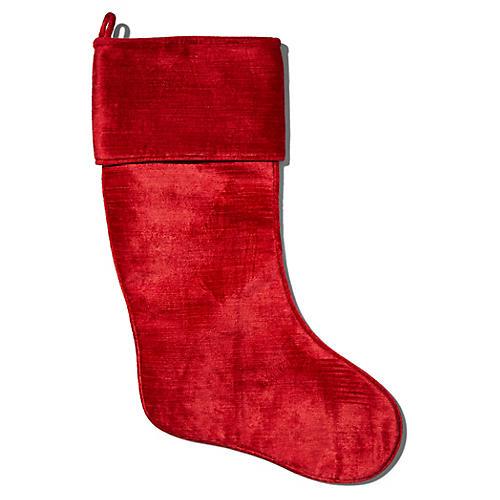 Emma Velvet Stocking, Red