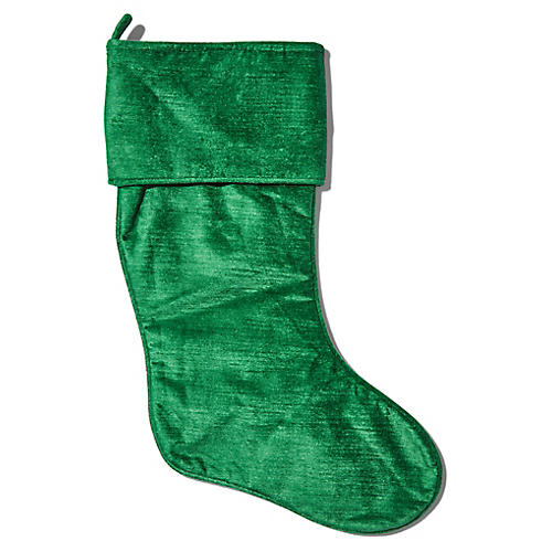 Emma Velvet Stocking, Emerald Green