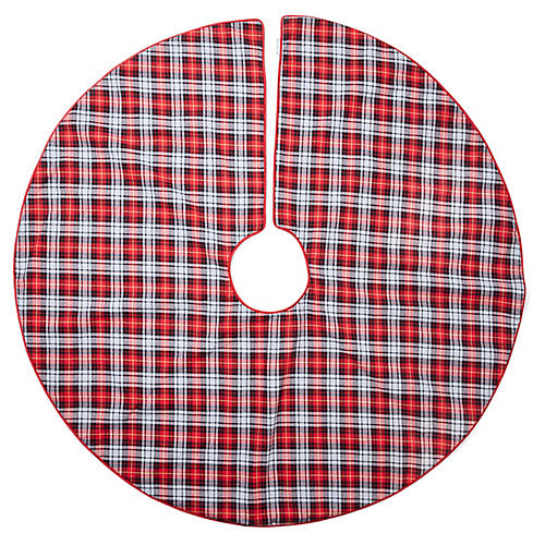 Bayberry Tartan Tree Skirt, Red/Multi