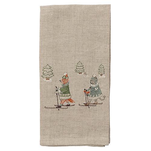 Winter Celebration Tea Towel, Natural/Multi