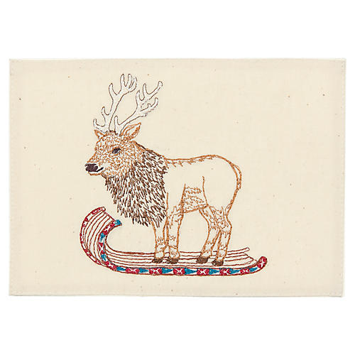 Elk on Toboggan Card, Natural/Multi