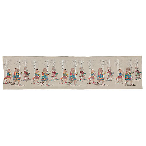 Cross-Country Skiers Table Runner, Natural/Multi