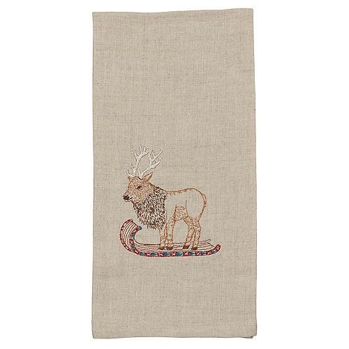 Elk on Toboggan Tea Towel, Natural/Multi