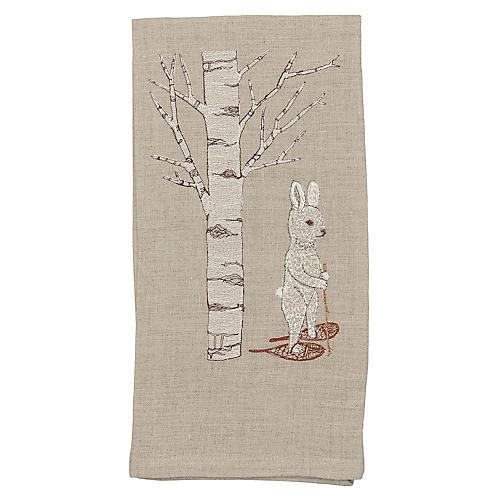 Snowshoe Hare Tea Towel, Natural/Multi