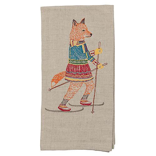 Cross-Country Skiing Fox Tea Towel, Natural/Multi