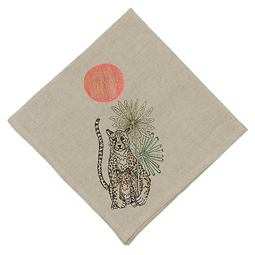 Jungle Cheetahs Dinner Napkin, Natural/Multi