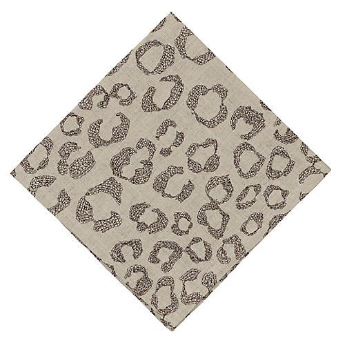 Leopard Dinner Napkin, Natural/Multi