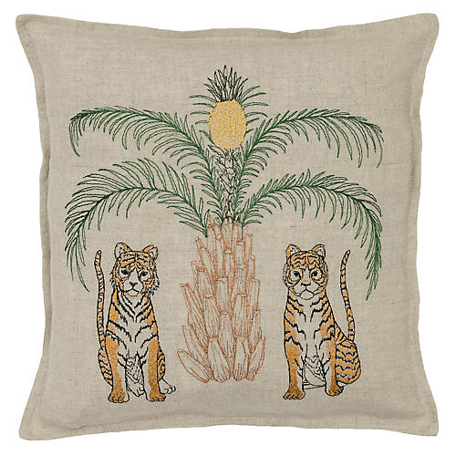 Tigers 12x12 Pillow, Natural Linen