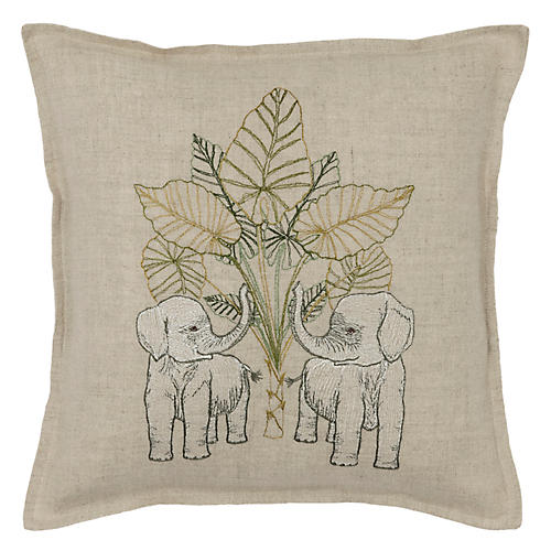 Elephants 12x12 Pillow, Natural Linen