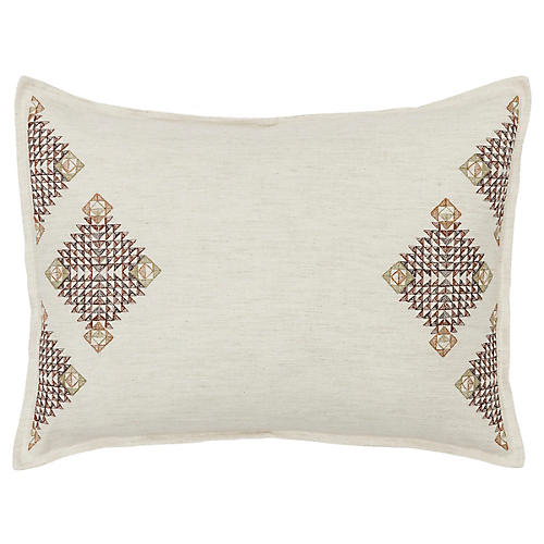 Diamond 12x16 Pillow, Sage/Ivory Linen