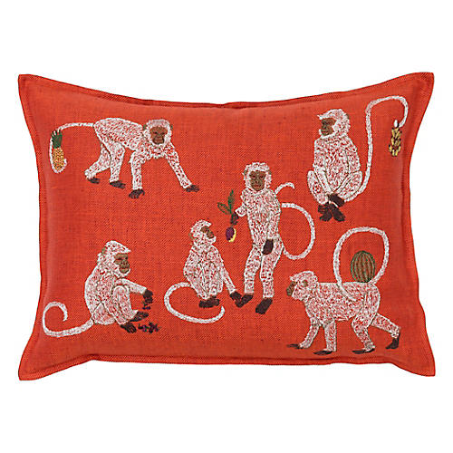 Monkey Business 12x16 Pillow, Orange Linen